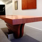Table de réunion.Cm260x100, h cm80 Bois et acier inoxydable 2006©MarcelloTogni